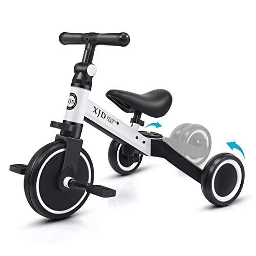 XJD 3 in 1 Laufrad Dreirad Lauffahrrad Upgrade 2.0 für Kinder 12-36 Monaten Laufräder mit abnehmbares Pedal Jungen Mädchen Baby Balance Bike (Weiß)