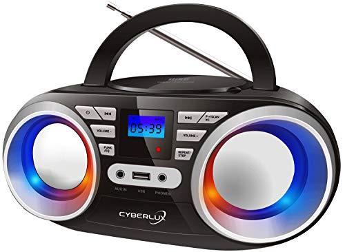 Tragbarer CD-Player   LED-Discolichter   Boombox   CD/CD-R   USB   FM Radio   AUX-In   Kopfhöreranschluss   20 Speicherplätze   Kinder Radio   CD-Radio   Kompaktanlage (Black/Sunny Silver)