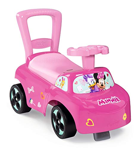 Smoby Mein erstes Auto Rutscherfahrzeug Minnie, Kinderfahrzeug mit Staufach und Kippschutz, für drinnen und draußen, Minni Maus Design, für Kinder ab 10 Monaten, Rosa