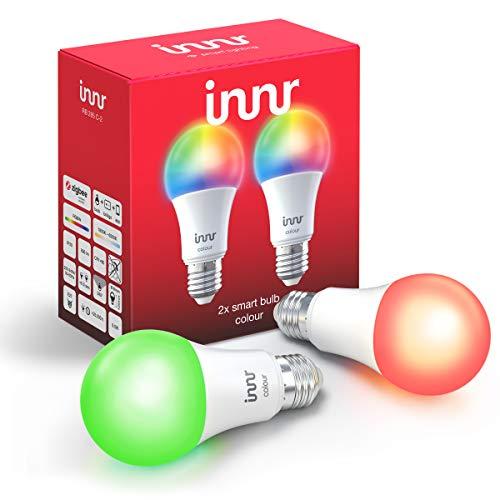 Innr E27 Smart LED Lampe Color, kompatibel mit Philips Hue*, Alexa & Hey Google (Bridge erforderlich) dimmbar, 16 Million Farben, alle Weißtöne, RGBW, 2-Pack, RB 285 C-2