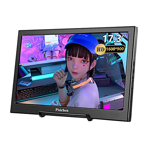 Pisichen 17,3 Zoll Tragbarer PC Monitor, Full HD 1600x900 Portable Monitor mit USB HDMI Eingang, Gaming Monitor für Laptop,PC,PS4, PS3, Xbox Ones,Raspberry Pi