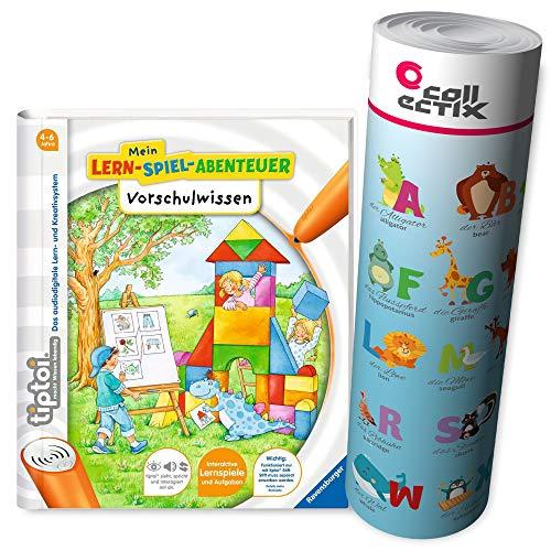 Ravensburger tiptoi® Schule Buch | Vorschulwissen - Mein Lern-Spiel-Abenteuer + ABC Alphabet Lern-Poster mit Tieren, Vorschule, Mathe, Deutsch, lernen