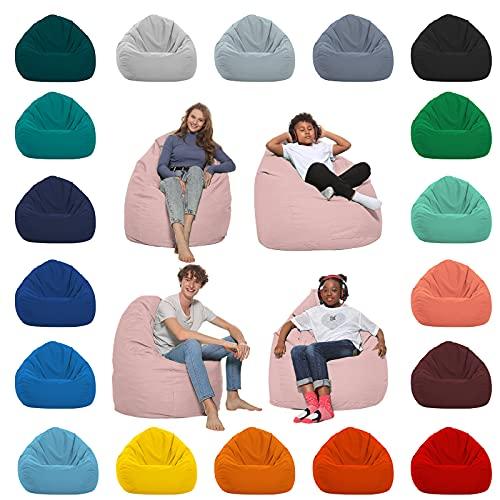 HomeIdeal - Sitzsack XXL Bodenkissen für Erwachsene & Kinder - Geeignet für Gaming oder Entspannen - Indoor wie Outdoor da er Wasserfest ist - mit EPS Perlen, Farbe:Puderrosa, Größe:XXL