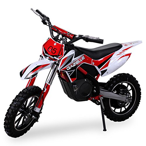 Kinder Mini Crossbike Gazelle ELEKTRO 500 WATT inklusive verstärkter Gabel Dirt Bike Dirtbike Pocket Cross (Rot)