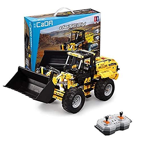 CaDA Radlader ferngesteuert, 491 Teile (kompatibel mit Lego Technic z.B. 8265 8439 42030), C51058W Gelb