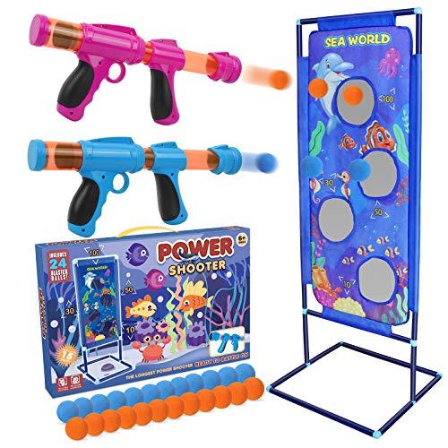 STOTOY-Schießspiel für Nerf-Spielzeug, 5 6 7 8 9 10+ Jahre, Jungen und Mädchen, 2PK Foam Ball Popper Air Toy Guns mit stehendem Schießziel, 24 Foam Balls, Indoor-Outdoor-Aktivitätsspiel für Kinder