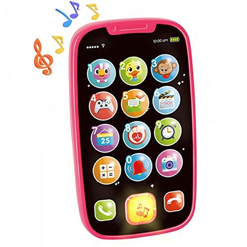 HOLA Lernspaß Smart Phone Baby Spielzeug ab 1 Jahr, Lernspielzeug mit Liedern Geräuschen Wörter Sätze und Blinkenden Lichtern, Lernhandy kinderspielzeug ab 1 jahr, 12 Monate Baby Geschenk Mädchen Rosa