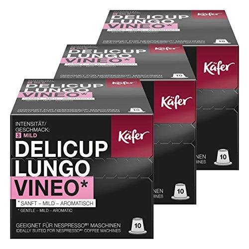 Käfer Delicup Espresso Lungo Vineo Kaffeekapsel, Kapsel, Sanft-Mild, Geeignet für Nespresso-Maschinen, 30 Kapsel à 5,2 g
