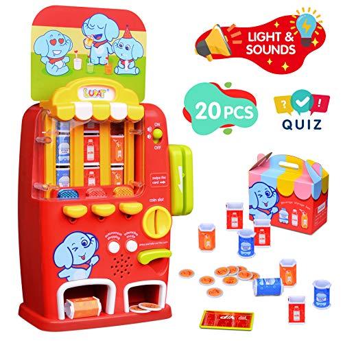 LUKAT Verkaufsautomat Spielzeug ab 3 5 Jahre, Rollenspiel elektronische Getränkeautomaten Spielen Einkaufsspiel Rollenspiel Kinderspielzeug Lernspielzeug Geschenk ab 3 4 5 6 7 Jahre Jungen Mädchen