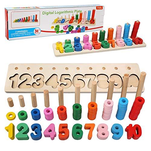 Felly Lernspielzeug ab 1 2 3 4 5 Jahre, Montessori Spielzeug aus Zahlen Lernen, Holzspielzeug Puzzlespiel Lernen | Puzzles aus Holz - motorik für das frühe Lernen im Kindergarten für Kleinkinder