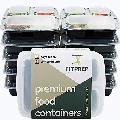 FITPREP® - DAS ORIGINAL - 3-Fach Meal Prep Boxen - 10er Pack - für Meal Prep empfohlen - inkl. schönem Rezeptheft