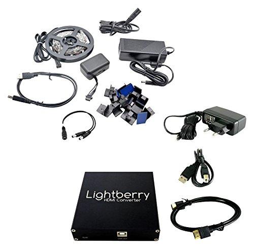 Lightberry HD mit Raspberry PI 3, TV Backlicht, Hintergrundbeleuchtung, HDMI Konverter, Komplettset für 75 Zoll