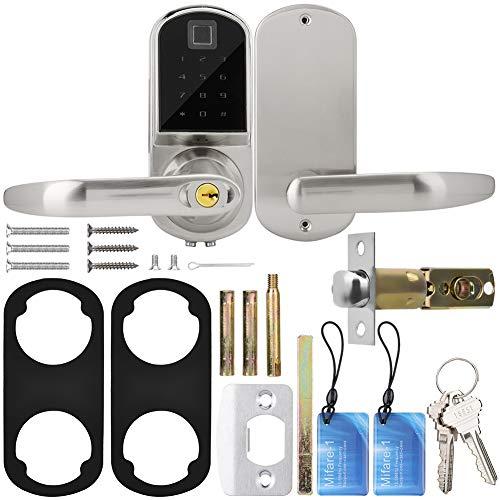 ASHATA Touchscreen Fingerprint Smart Lock, elektronisches Einsteckschloss ohne Schlüssel mit Fingerabdrücken + Passwörtern und mechanischem Schlüssel für die Türsicherheit