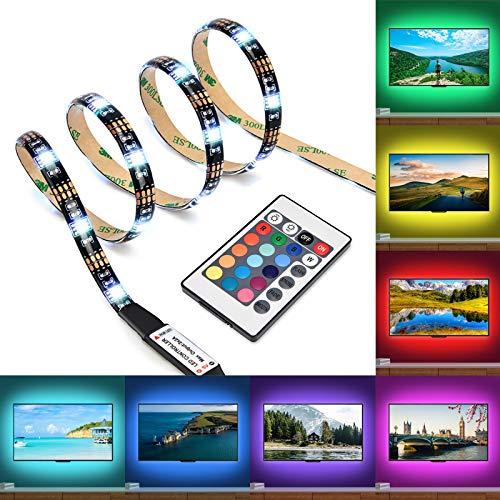 Kohree LED Streifen, 90CM LED TV Hintergrundbeleuchtung RGB USB LED Streifen mit Fernbedienung, 16 Farbe 4 Modi Dimmbar Lichtband Leiste Bunt LED Strip für 40'-60' TV, Haus, Party [Energieklasse A+]