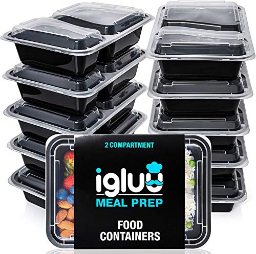 [10er Pack] 2-Fach Meal Prep Container Von Igluu - Essensbox, Lunchbox Mikrowellengeeignet, Spülmaschinenfest Und Wiederverwendbar - Luftdichter Deckelverschluss, BPA Frei