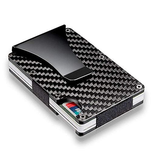 Schwarz Carbon Schlank Brieftasche Front Taschenmappe & Geldscheinklammer Minimalistisch Brieftasche RFID-Blockierung Für Männer Frauen, Kartenetui Brieftasche mit Geldklammer Kreditkartenetui RFID