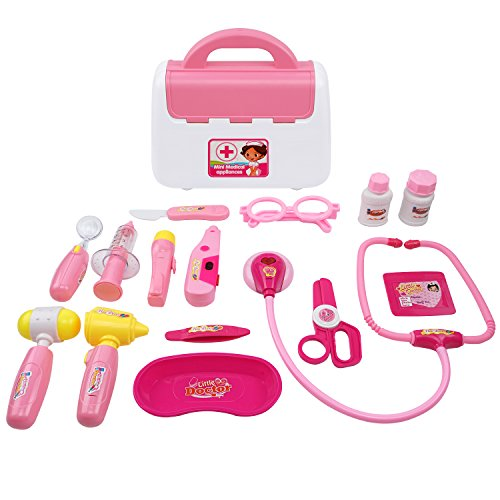 Samoleus Arztkoffer Kinder, 15St Doktor Spielset Medizinische Kits Doktorkoffer Rollenspiel Spielzeug für Kinder (Rosa)