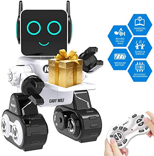 okk Robot Toy for Kids Educational Toy Robotics for Kids Singing Dancing Built-in Piggy Bank Touch Control Recorder Rechargeable Remote Control Robot Kit Gift for Kids (Weiß)
