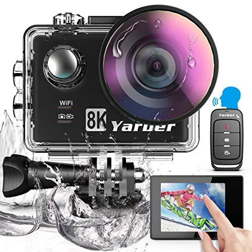 Yarber Action Cam 8K 20MP Digitale Action Kamera mit WiFi Touchscreen EIS 40M, 8X Zoom Sprachsteuerung Fernbedienung Zubehör Kit Unterwasser Kamera