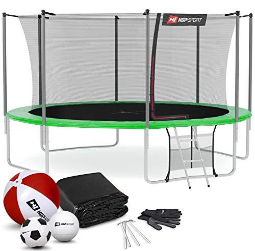 Hop-Sport Outdoor Trampolin Ø 366 cm – Gartentrampolin Komplettset mit stabilen U-Beinen, innenliegendem Netz, Sprungtuch und Leiter sowie Extra-Zubehör, grün