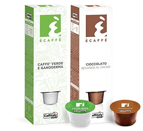 20 Ècaffè Kapseln Kombipaket: 10 Kakaokapseln CIOCCOLATO Bevanda al Cacao + 10 Kapseln Grüner Kaffee CAFFÈ VERDE E GANODERMA