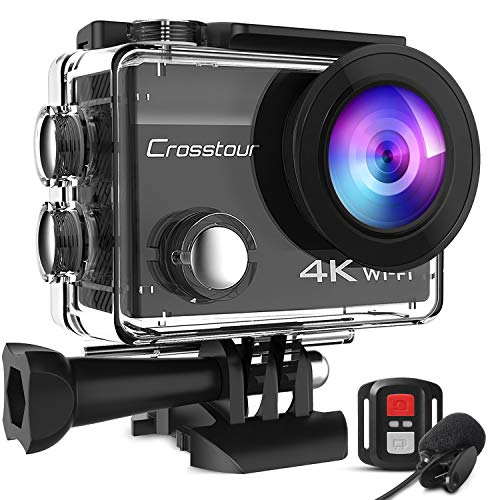 Crosstour Action Cam, CT8500 4K Helmkamera Unterwasser Sports Kamera (WiFi 20MP Externes Mikrofon und Fernbedienung EIS Webcam)