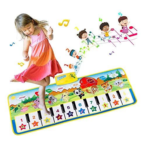 EXTSUD Piano Mat Tanzmatten Klaviermatte Musikmatte Kinder 8 Instrumenten Klaviertastatur Spielzeug Musik Matte, Keyboard Matten Spielteppich Baby Tanzmatte für Jungen Mädchen Kinder 100*36 cm