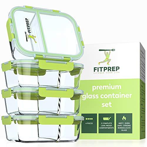 FITPREP® - Frischhaltedosen aus Glas [4 Stück-1040 ml] - 2 komplett dichte & getrennte Fächer - Premium Glasbehälter mit Deckel & Lifetime Lasting Lid - perfekt für Meal prep