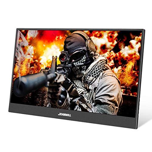 15,6 Zoll USB-C Tragbarer Gaming Monitor, Ultra HD 1920 x 1080 IPS-LCD/LED-Anzeige, HDMI/Zwei Typ C (USB C) Zwei USB-Schnittstellen,Spielmonitor,JOHNWILL