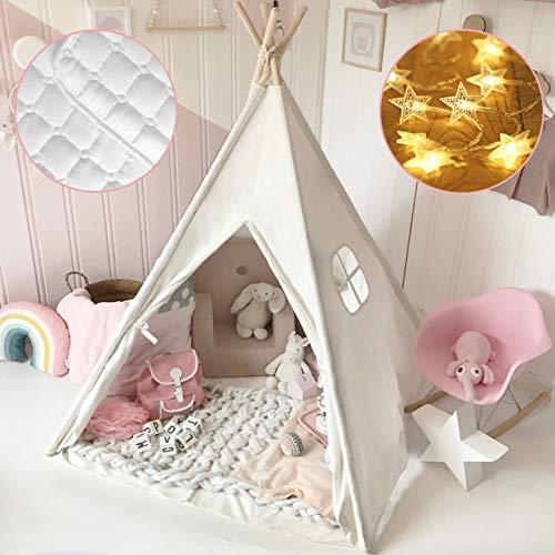 Tiny Land Tipi Spielzelt für Kinder mit Gepolsterter Decke & Lichterkette & Aufbewahrungstasche Baumwolle- Segeltuch Kinderzelt (Weiß 165cm Hoch) Spielhaus Kinder
