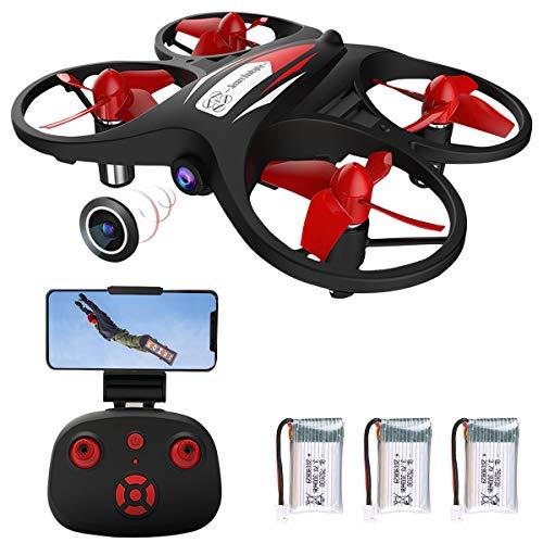 Mini-Drohne für Kinder 2,4 G WiFi FPV-Drohne mit Kamera 720 P WiFi Echtzeit-Übertragung Schwerkraftsensor Höhe halten Headless-Modus APP-Steuerung (mit 3 Batterien)