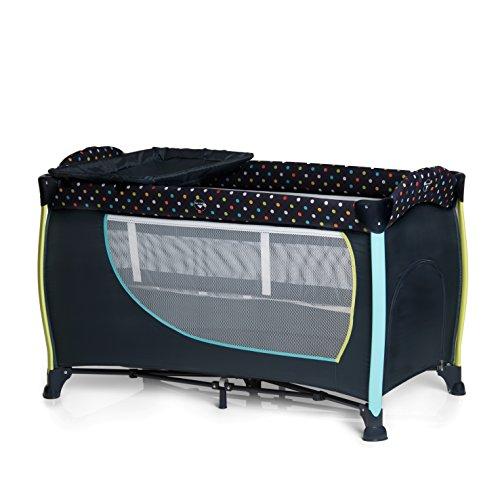Hauck Kombi Reisebett Set Sleep N Play Center 2 / für Babys und Kinder ab Geburt bis 15 kg / 120 x 60 cm / 2 Höhen / inkl. Wickelauflage / Trage Tasche / Schlupf / Rollen / Navy Blau