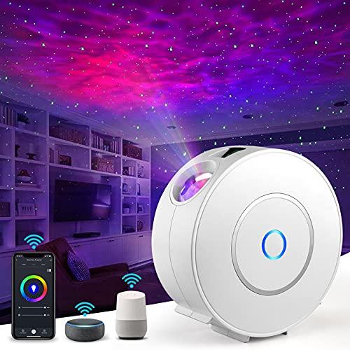 LED Alexa Sternenhimmel Projektor, Nigecue Smart LED Sternenprojektor 3D Galaxy mit App-/Sprachsteuerung, Timer, Kompatibel mit Alexa/Google Assistant, Geeignet für Baby Kinder Schlafzimmer Heimkino