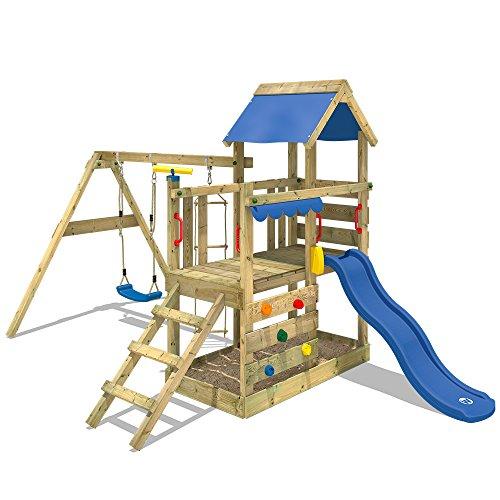 WICKEY Spielturm Klettergerüst TurboFlyer mit Schaukel & blauer Rutsche, Kletterturm mit Sandkasten, Leiter & Spiel-Zubehör