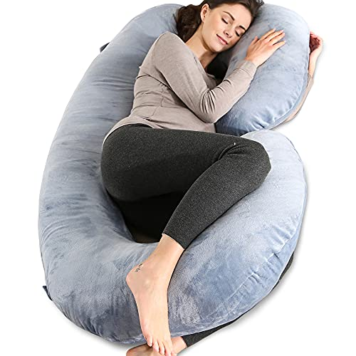 Chilling Home Schwangerschaftskissen C Form,Stillkissen Seitenschläferkissen mit Bezug C Kissen Lagerungskissen,Pregnancy Pillow Maternity Pillow Schlafkissen Seitenschläfer 140x70cm, Grau
