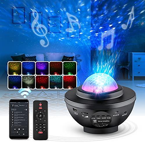 VMAS | LED Sternenhimmelprojektor [360°drehbar] – Sternenprojektor mit 10 Beleuchtungsmodi, Fernbedienung, Timer & Bluetooth-Lautsprecher