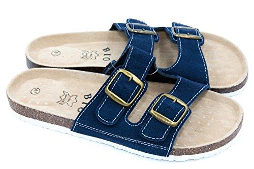 TexBase Herren Pantoletten Bio Leder Kork Pantoffeln Perfekte Hausschuh (42 Blau)