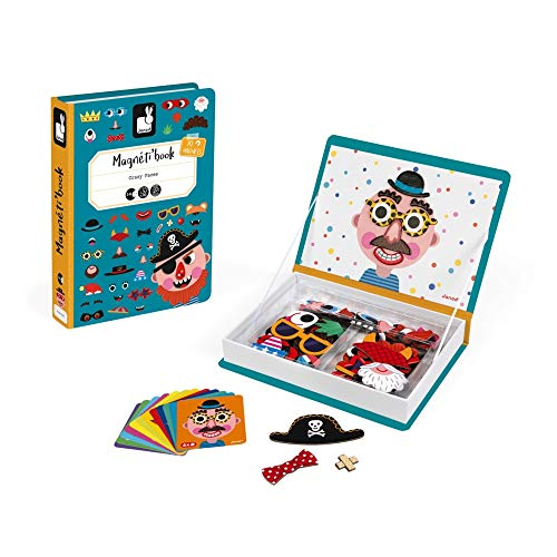 Janod J02716 Magneti'Book Crazy Faces Lernspielzeug, Jungs