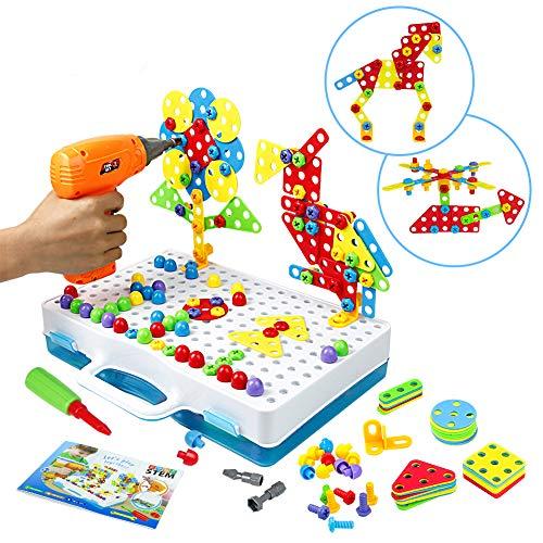 Symiu Mosaik Steckspiel Schraube Spielzeug - 3D Puzzle Kinderspielzeug ab 3 4 5 6 Jahre Alt Pädagogisches Spielzeuge mit Elektronischem Bohrer Baustein Spielzeug Geschenkidee für Kinder Junge Mädchen