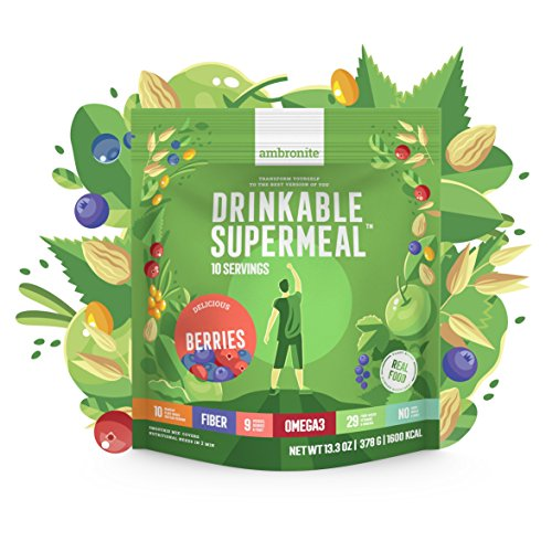 Ambronite Complete Meal Shake, Nutritionally Complete Meal Replacement Shake - 4 Full Meals, 378 g - High Fiber & Protein with 5 Servings of Greens and Berries, and 29 Food-Based Vitamins and Minerals