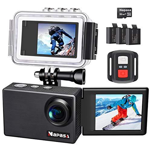 Napasa Action Cam 4k, Bildschirm 180° Drehbar Selbstauslöser, Ultra HD WiFi wasserdichte Kamera Helmkamera mit Echter (mit SD Karte 32G, Wasserdicht Gehäuse, Zubehör, 3 Akkus)