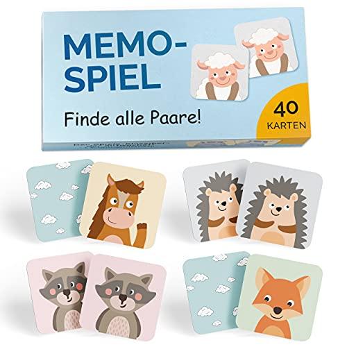 GLÜCKSWOLKE Memory - Spiel I Für Kinder ab 2 bis 6 Jahre I Montessori Spielzeug - fördert Konzentration + Merkfähigkeit I Lernspiele - Mit 7 Schwierigkeitsstufen I Kinderspielzeug Memorie (40 Karten)