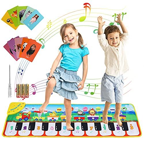 joylink Tanzmatte für Kinder, Klaviermatte Musikmatte Kinderspielzeug mit 8 Tierstimmen und 10 Liedern, Piano Matte Lernspielzeug Geschenk für Jungen Mädchen ab 1 2 3 Jahre, 110 x 36 cm (Grün)