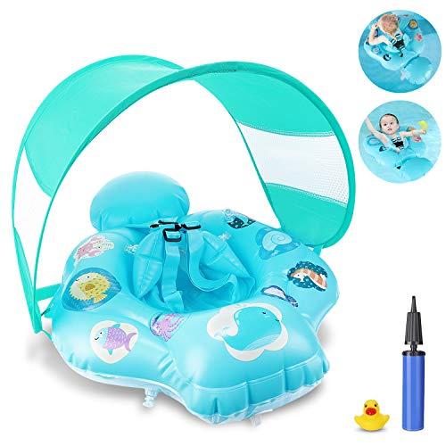Magicfun Baby Schwimmring, aufblasbarer Schwimmhilfe mit Sonnendach und sicherem Sitz, Schwimmreif Kinder Baby Swim Float, ab 6 Monate bis 3 Jahre