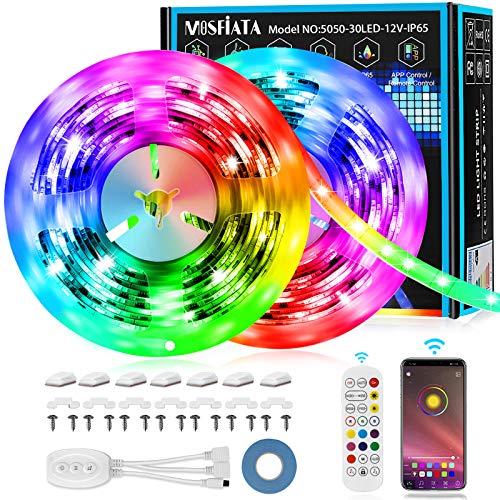 MOSFiATA LED-Streifen 7m, Led Bänder via App mit Musik, 24 Tasten Fernbedienung,16 Millionen Farb-RGB-Streifen, geeignet für Heim, Fernseher, Party,Küche, Bar, Schlafzimmer