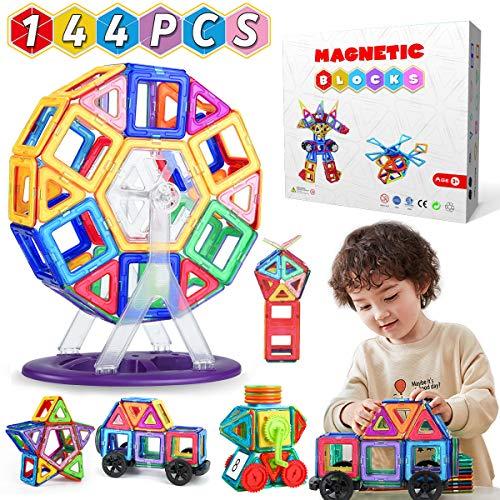WEARXI Magnetische Bausteine Kinder - 144pc Magnete Spielzeug Kinder, Magnetspielzeug für Kinder, Magnetspiele Montessori Spielzeug für Kinder ab 3-8 Jahren, Lernspielzeug Geschenke für Kinder