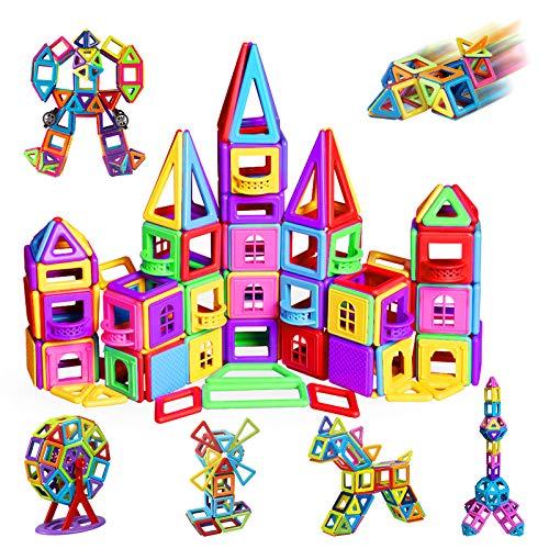 infinitoo Magnetische Bausteine Magnetic Bauklötze Baukasten Kinder | Tolles Geschenk Lernspielzeug für Kinder ab 3 Jahre | Perfekt für den Einsatz zu Hause, in Schulen (162tlg Manetic Bausteine)
